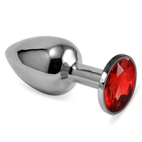 Серебристая анальная втулка с красным кристаллом - 7 см.