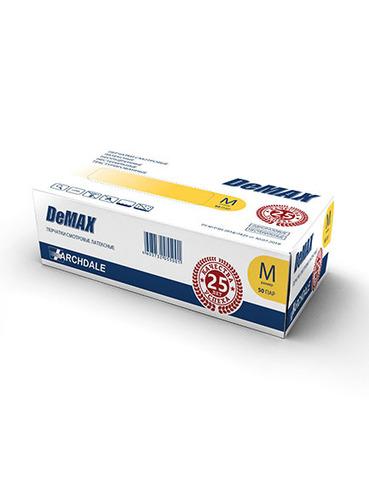 Перчатки косметические латексные неопудренные р. L (100 штук - 50 пар) (DeMAX - Малайзия)