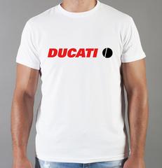 Футболка с принтом Ducati (Дукати) белая 0011