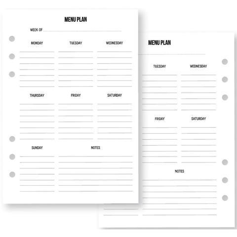 Тематическое наполнение для планера -A5 PLANNER-Home Menu Planning