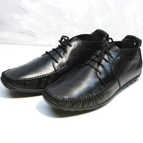 Кожаные мокасины кеды. Высокие мокасины мужские на шнурках Ikoc Black