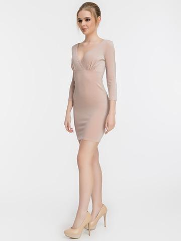 Короткое обтягивающее платье с люрексом, пудрового цвета 1