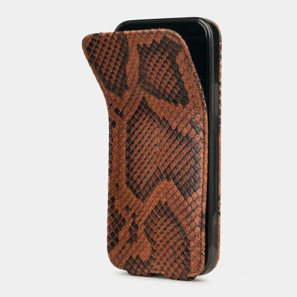Чехол для iPhone 12/12Pro из натуральной кожи питона, цвета коньяк