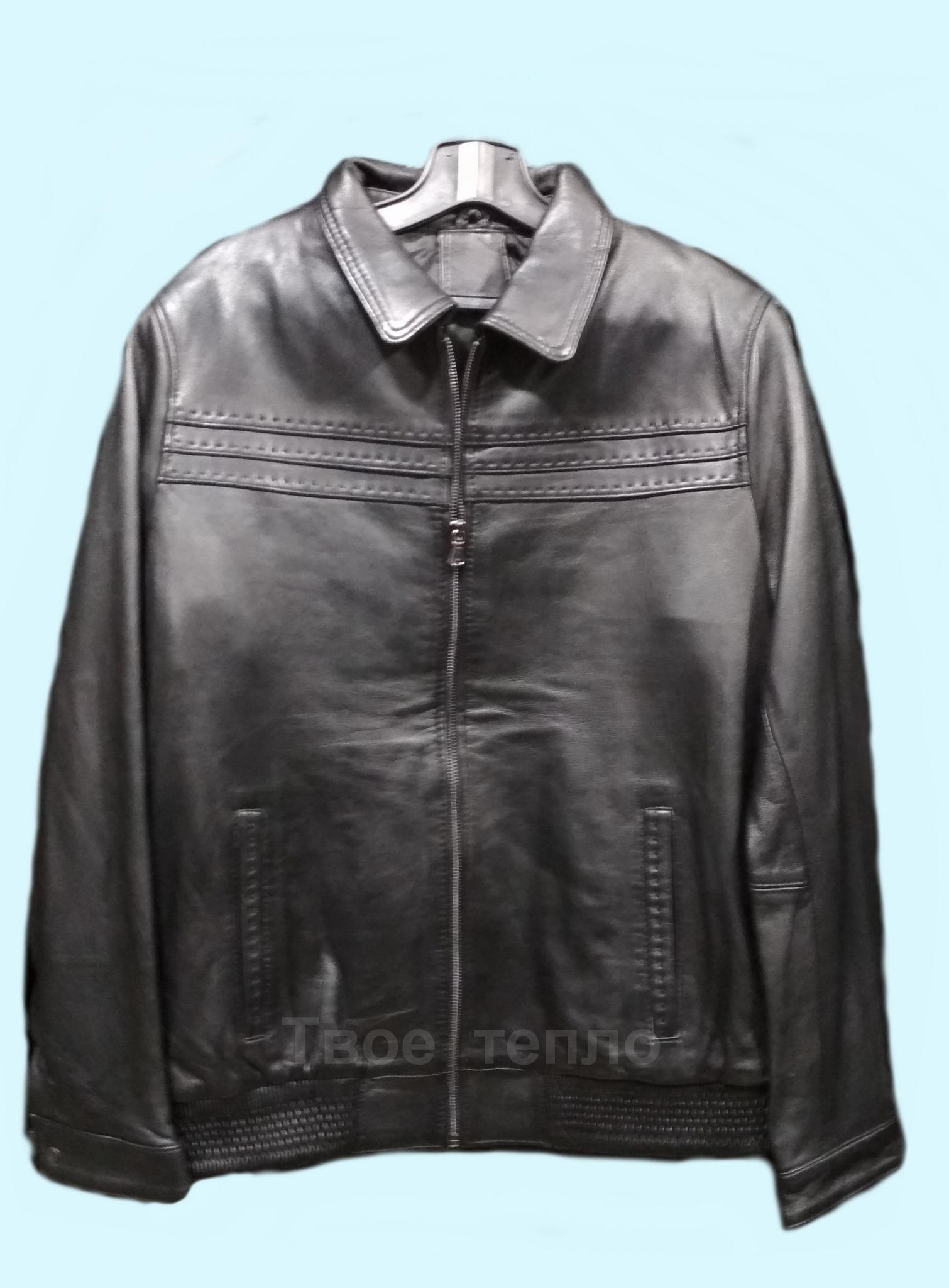 Мужская кожаная куртка на резинке