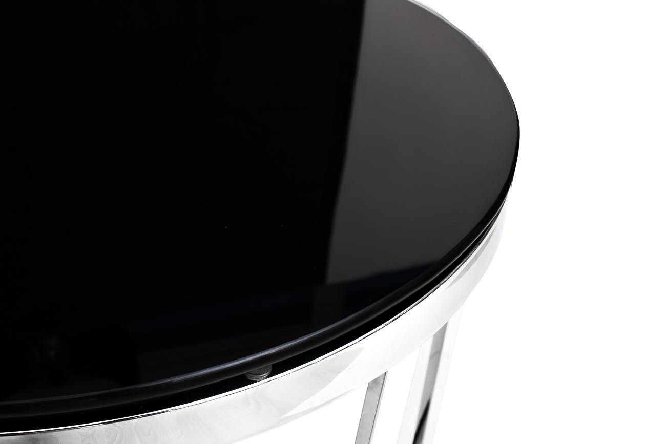 Стол журнальный GY-ET7738 черное стекло/хром d50*55см