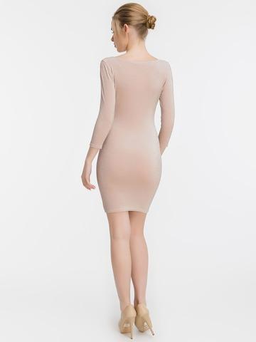 Короткое обтягивающее платье с люрексом, пудрового цвета 2