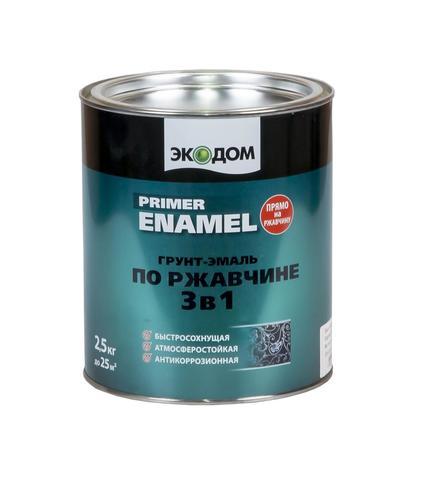 Грунт-эмаль по ржавчине 3в1 ЭКОДОМ полуматовая цвет Черный 9005 (2,5кг)