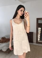 Ирэн. Легкое льняное женское платье. Бежевый