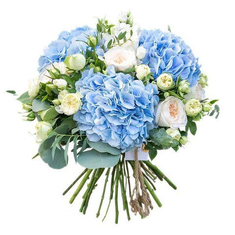 -20% Букет с гортензией (3шт) , пионовидными кустовыми (5шт) и одноголовыми (5шт) розами
