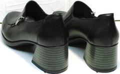 Черные кожаные туфли на каблуке 6 см осень весна женские H&G BEM 107 03L-Black.