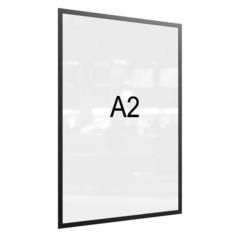 Рамка магнитная настенная Attache А2 ПЭТ, черная, 5 шт/уп