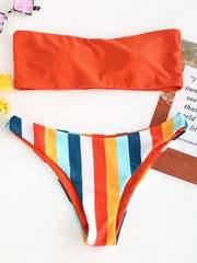купальник бандо раздельный оранжевый радуга Orange-Rainbow 1