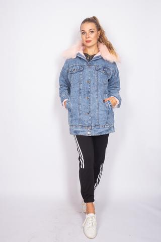 теплая джинсовая куртка с мехом недорого