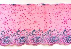 Вышивка на сетке, 16 см, ярко-розовый и бирюза, правая сторона, (Артикул: VS-1002), м