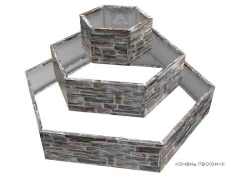 Клумба многоугольная оцинкованная Альпийская горка 3 яруса Камень песчаник
