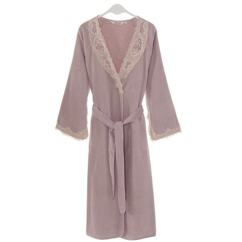 DESTAN  ДЕСТАН лиловый махровый женский халат Soft Cotton (Турция)