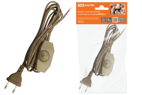 Шнур с плоской вилкой и светорегулятором ШУ05С3 (200Вт, RL) ШВВП 2х0,75мм2 2м. бронза TDM