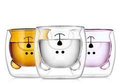 Стаканы с двойными стенками в форме мишки, из цветного стекла - набор 3 шт по 250 мл