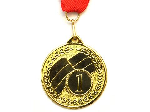 Медаль наградная с лентой за 1 место. Диаметр 5 см. МТ853-1