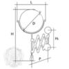 Зеркало оптическое (3х) настенное Migliore Elizabetta  ML.ELB-60.119 H40xP60 cm; D18 cm H32,5 cm схема