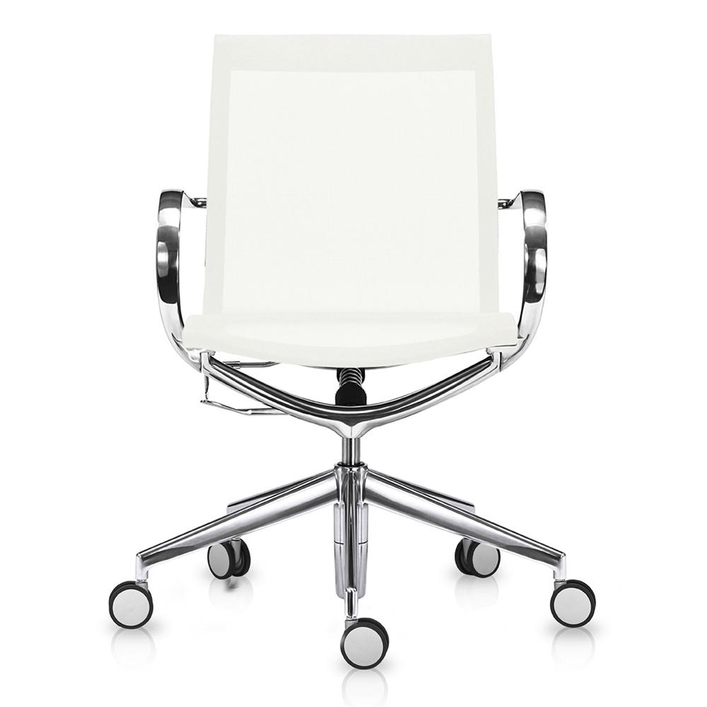 Кресло Mercury LB чисто-белая сетка, матовый алюминий - вид 2
