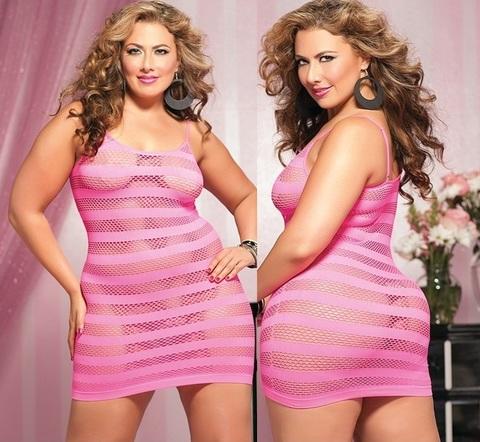 Платье-сетка в горизонтальную полоску (BS) розовое