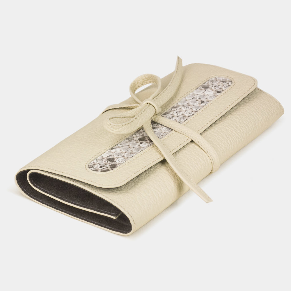 Чехол для ювелирных украшений Plier Bisness из натуральной кожи теленка, молочного цвета