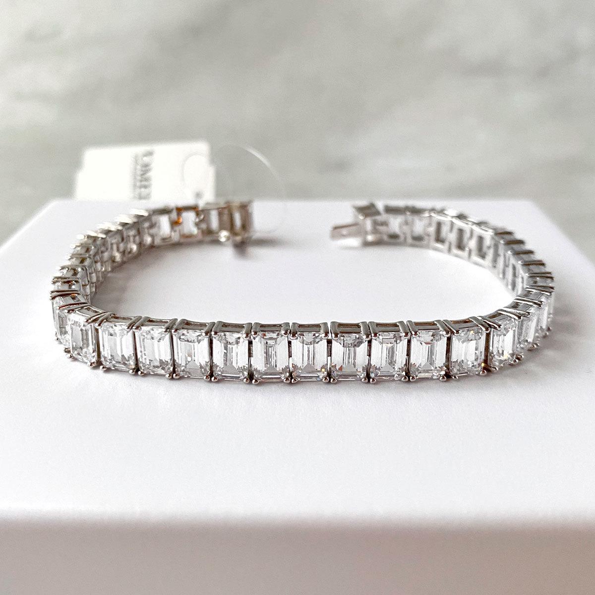 Браслет Теннисный багетной огранки white diamond (серебро 925)