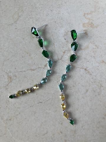 Серьги Интекруса с зелено-желтым градиентом