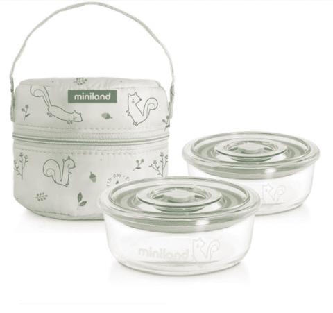 Термосумка Miniland Pack-2-Go Naturround (2 круглых контейнера)