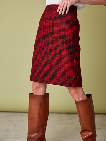 Юбка средней длины из шерсти гусиная лапка красный/черный