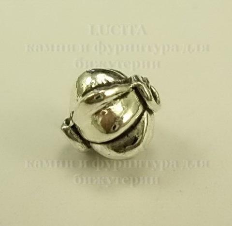 Бусина металлическая (цвет - античное серебро ) 9 мм, 10 штук ()