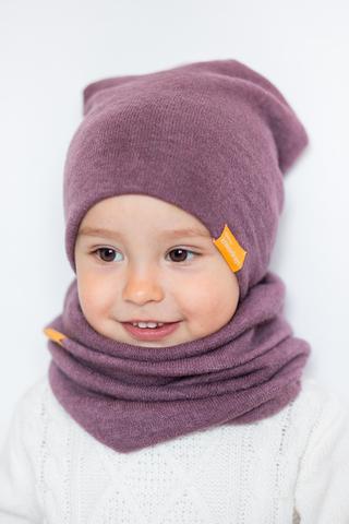 детская шапка из турецкой шерсти лавандово-ягодная