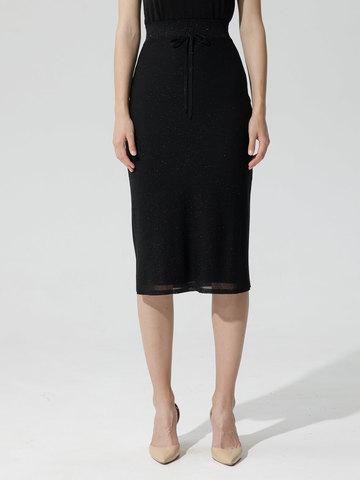 Женская двухслойная юбка-карандаш с люрексом черного цвета - фото 5