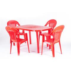 Пластиковый стол овальный красный