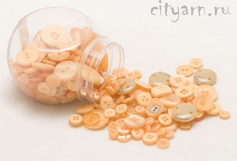 Набор разных пуговиц для рукоделия в банке, 140 гр, цвет 131 Orange Fizz, персиковые