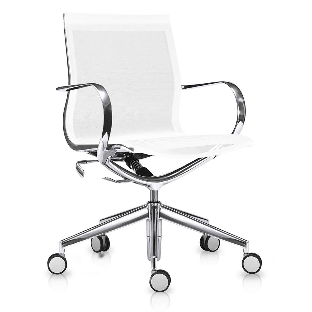 Кресло Mercury LB чисто-белая сетка, матовый алюминий - вид 1