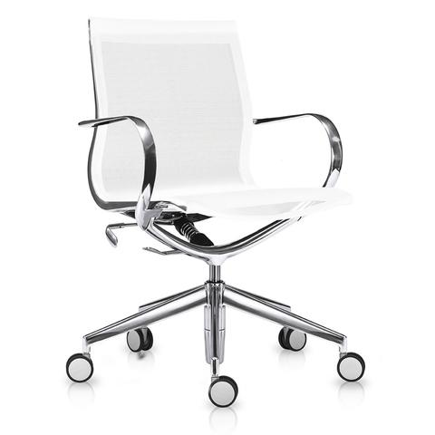 Кресло Mercury LB чисто-белая сетка, матовый алюминий