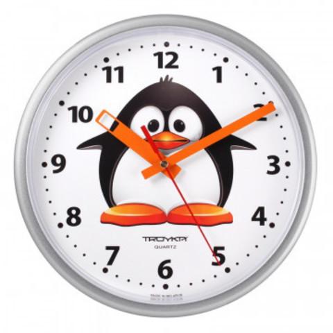 Часы настенные Troyka модель09, диаметр 225мм, пластик 91970944 серебро