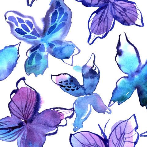 Синие бабочки. Акварель