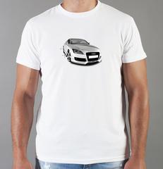 Футболка с принтом Ауди (Audi) белая 006