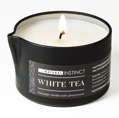 Массажная свеча с феромонами Natural Instinct WHITE TEA - 70 мл.