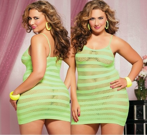 Платье-сетка в горизонтальную полоску (BS) салатовое