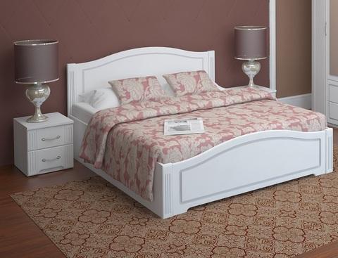 Кровать двуспальная Виктория 5 с латами Ижмебель 160х200 белый глянец
