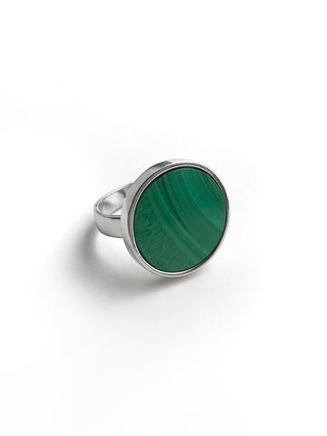 Серебряное кольцо круг с малахитом