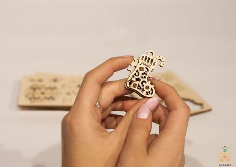 Фиджет Новогодняя магия (4 шт.) от Ugears - Деревянный конструктор, сборная модель, елочная игрушка