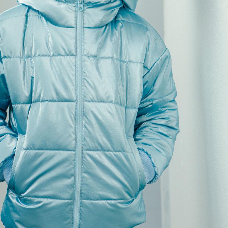 Демісезонна підліткова куртка для дівчинки в блакитному кольорі