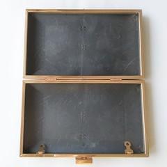 Каркасный рамочный замок (клатч-бокс)  прямоугольный 20*12 см, под золото