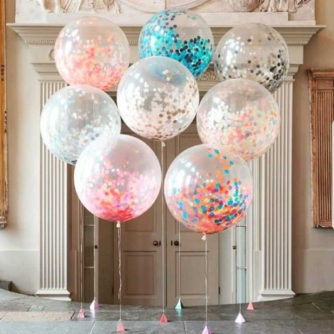 Метровые большие воздушные шары с конфетти