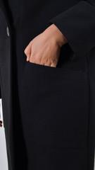 Чорниця. Стильне пальто плюс сайз. Чорний.